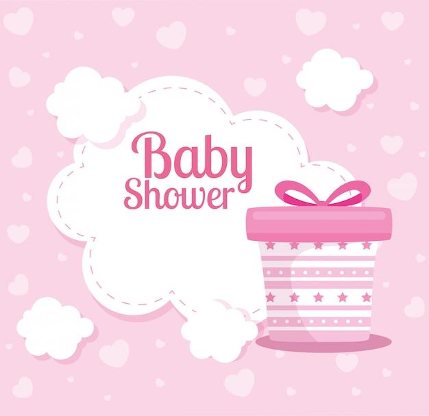 Cartão de chuveiro de bebê com nuvens e caixa de presente