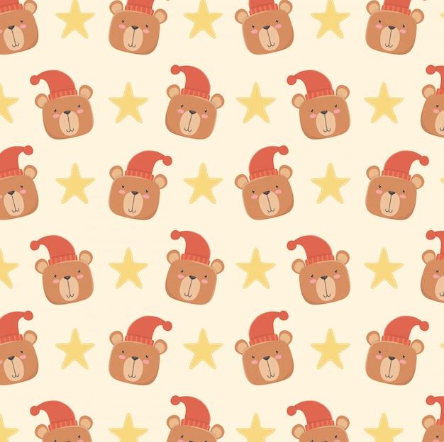 Cartão de chuveiro de bebê com padrão de cabeças de ursos