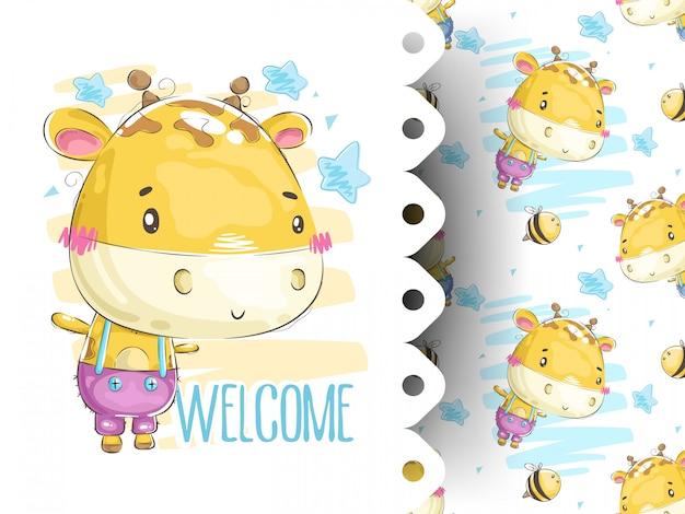 Cartão de chuveiro de bebê com padrão de girafa
