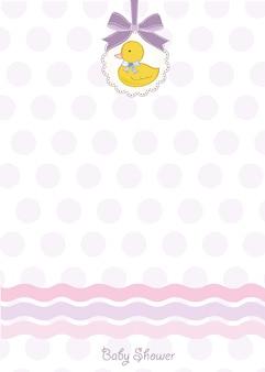 Cartão de chuveiro de bebê com patinho