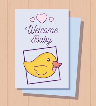 Cartão de chuveiro de bebê com pato fofo