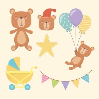 Cartão de chuveiro de bebê com pequenos personagens de ursos