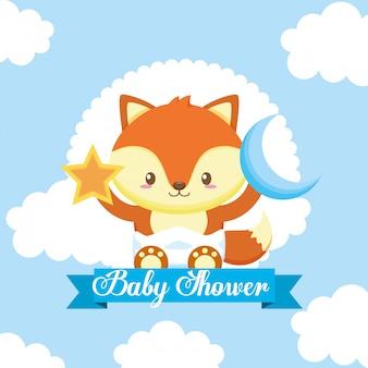 Cartão de chuveiro de bebê com raposa bonita