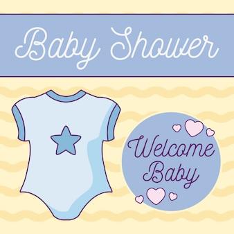 Cartão de chuveiro de bebê com roupas garoto