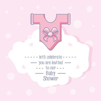 Cartão de chuveiro de bebê com roupas para menina
