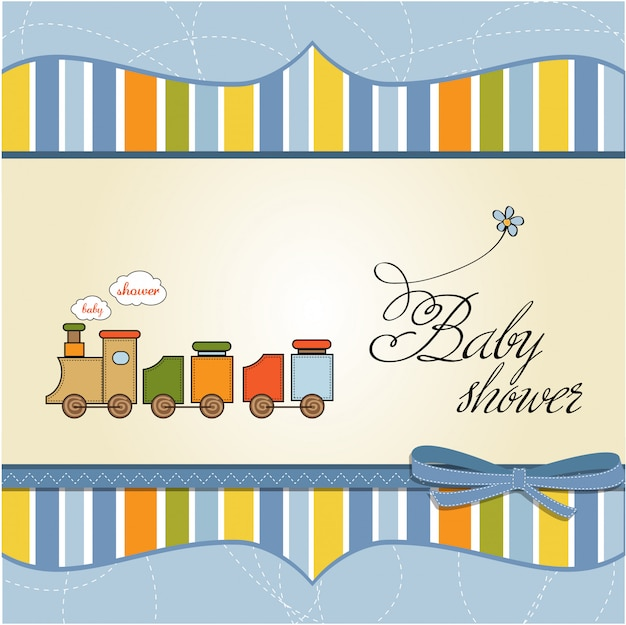 Cartão de chuveiro de bebê com trem de brinquedo