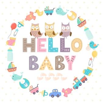 Cartão de chuveiro de bebê com um texto
