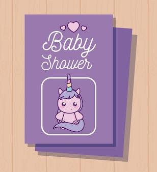 Cartão de chuveiro de bebê com unicórnio fofo