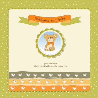 Cartão de chuveiro de bebê com ursinho de pelúcia brinquedo