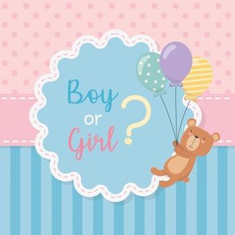 Cartão de chuveiro de bebê com ursinho de pelúcia com balões de hélio