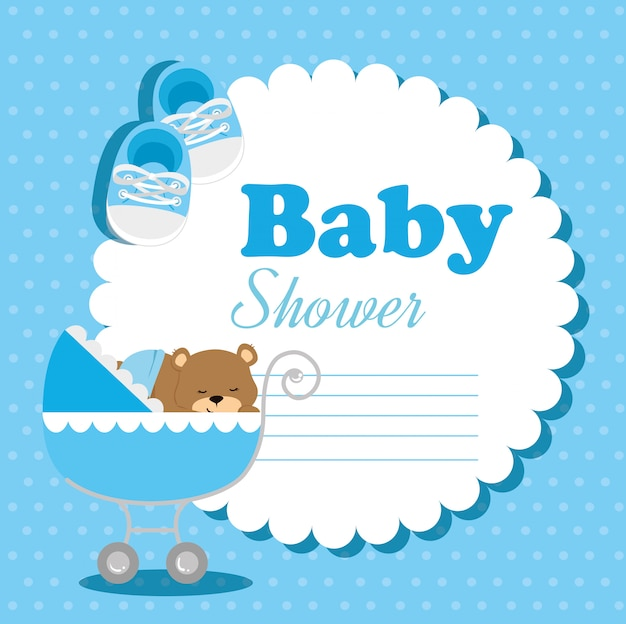 Cartão de chuveiro de bebê com ursinho de pelúcia e elementos