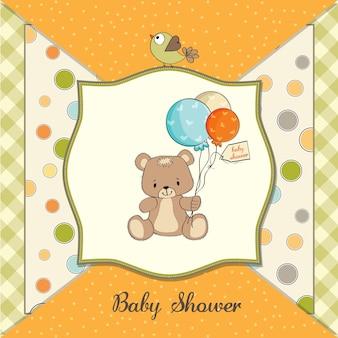 Cartão de chuveiro de bebê com ursinho fofo