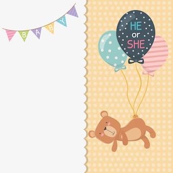 Cartão de chuveiro de bebê com ursinho ursinho e balões de hélio