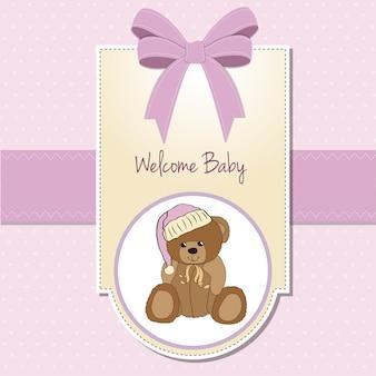Cartão de chuveiro de bebê com urso de pelúcia com sono
