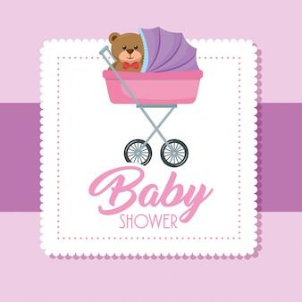 Cartão de chuveiro de bebê com urso teddy no carrinho