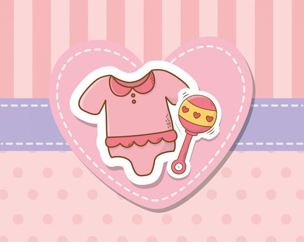 Cartão de chuveiro de bebê com vestido rosa