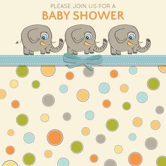 Cartão de chuveiro de bebê delicado com elefantes pequenos
