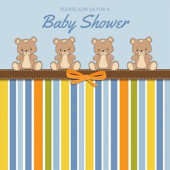 Cartão de chuveiro de bebê delicado com ursos de pelúcia