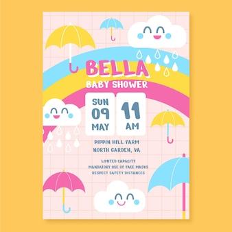 Cartão de chuveiro de bebê flat chuva de amor