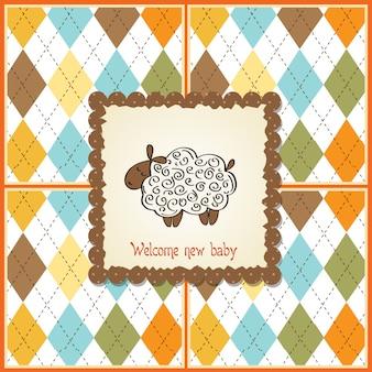 Cartão de chuveiro de bebê fofo com ovelhas