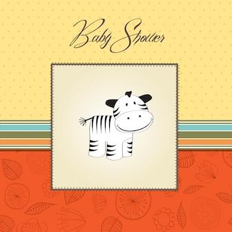 Cartão de chuveiro de bebê fofo com zebra