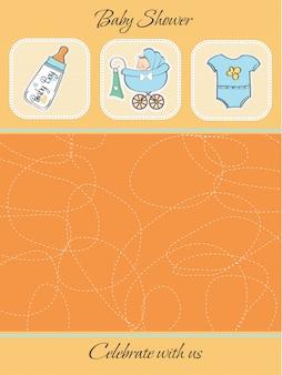 Cartão de chuveiro de bebê fofo