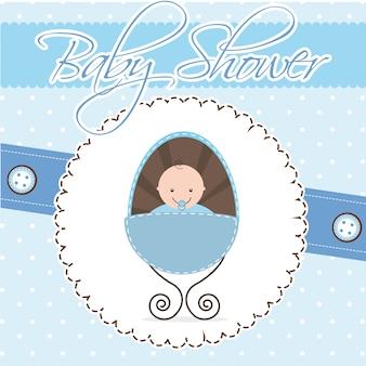 Cartão de chuveiro de bebê menino ilustração vetorial de bebê Vetor Premium