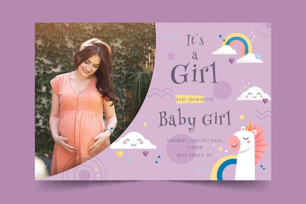 Cartão de chuveiro de bebê para menina com foto
