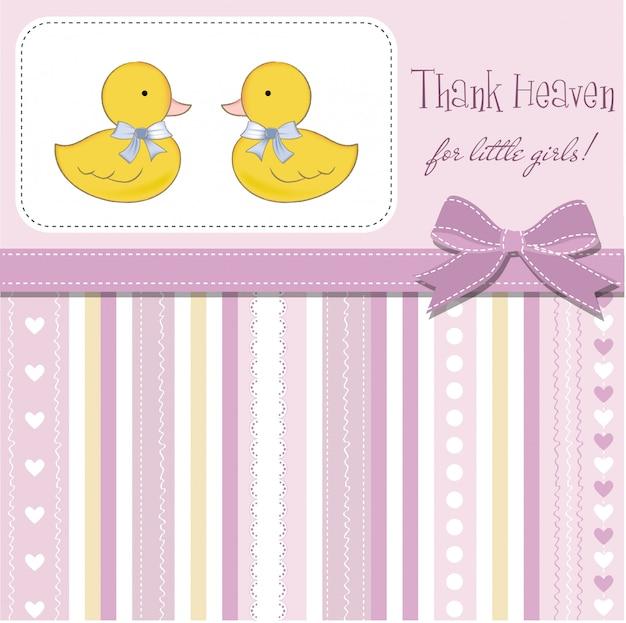 Cartão de chuveiro de bebê para meninas gêmeas