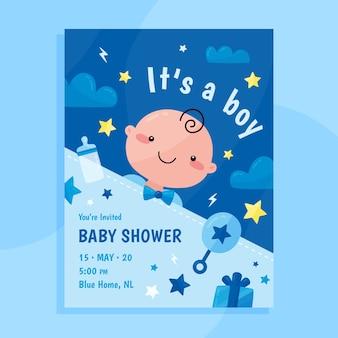 Cartão de chuveiro de bebê para menino