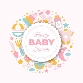 Cartão de chuveiro de bebê plana com elemento recém-nascido.