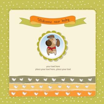 Cartão de chuveiro de bebê romântico com cachorro