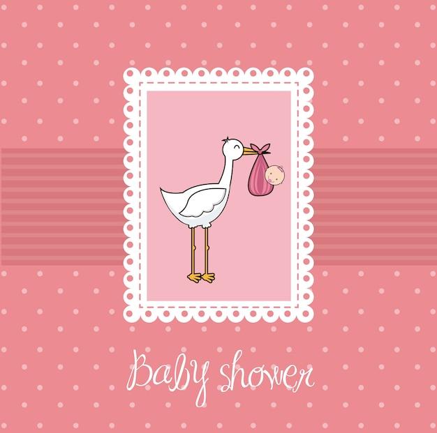Cartão de chuveiro de bebê rosa com ilustração vetorial de cegonha e bebê