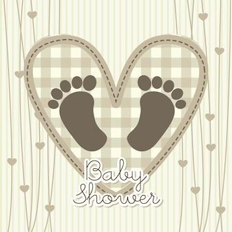 Cartão de chuveiro de bebê sobre ilustração vetorial de fundo bege