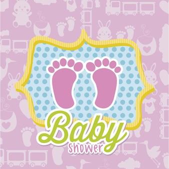 Cartão de chuveiro de bebê sobre ilustração vetorial de fundo rosa