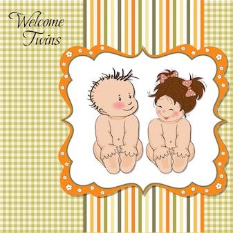 Cartão de chuveiro do bebê gêmeos