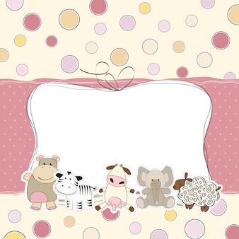 Cartão de chuveiro do bebê menina