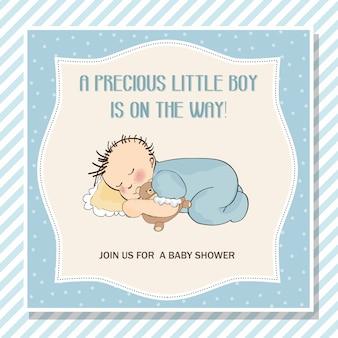 Cartão de chuveiro do bebê menino com bebezinho