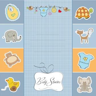 Cartão de chuveiro do bebê menino