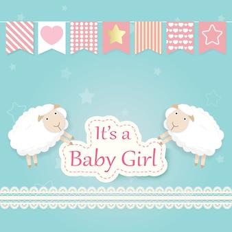 Cartão de chuveiro menina bebê com ovelhas e rendas