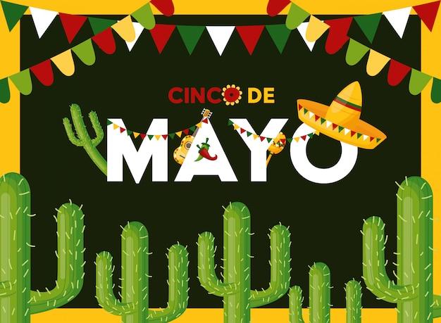 Cartão de cinco de maio com cacto, ilustração do méxico