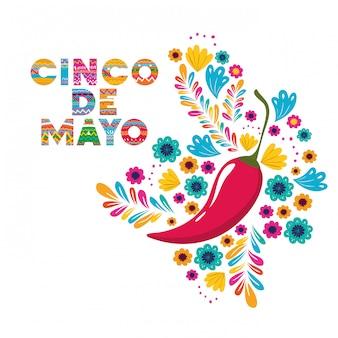 Cartão de cinco de mayo com cartão de pimentas