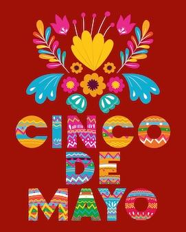 Cartão de cinco de mayo com decoração floral
