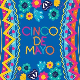 Cartão de cinco de mayo com moldura floral e textura
