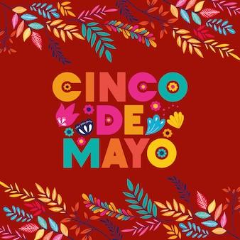 Cartão de cinco de mayo com moldura floral