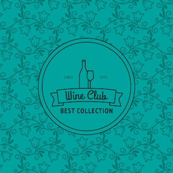 Cartão de clube de vinho com padrão floral
