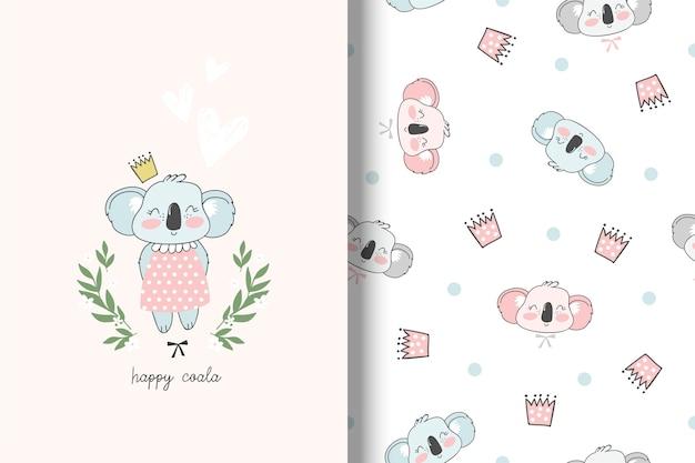 Cartão de coala e padrão sem emenda