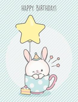 Cartão de coelhinho fofo de aniversário