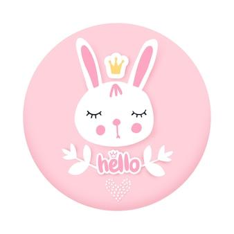 Cartão de coelhinho fofo. ilustração engraçada coelho adorável. animal dos desenhos animados. personagem engraçada.