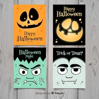 Cartão de coleção de halloween mão desenhada estilo